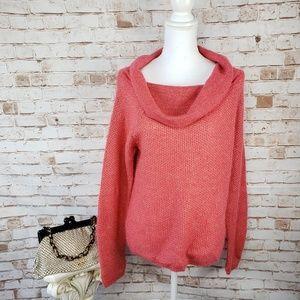 MODA International Coral & Gold Cowl Neck Sweater